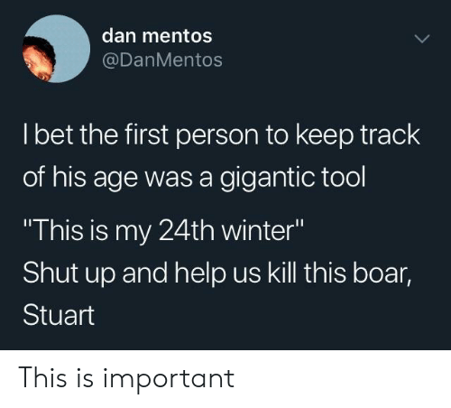 """Mentos, Shut Up, and Winter: dan mentos  @DanMentos  l bet the first person to keep track  of his age was a gigantic tool  This is my 24th winter""""  Shut up and help us kill this boar,  Stuart This is important"""