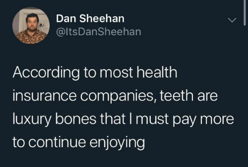 Bones, Dank, and Health Insurance: Dan Sheehan  @ltsDanSheehan  According to most health  insurance companies, teeth are  luxury bones that I must pay more  to continue enjoying