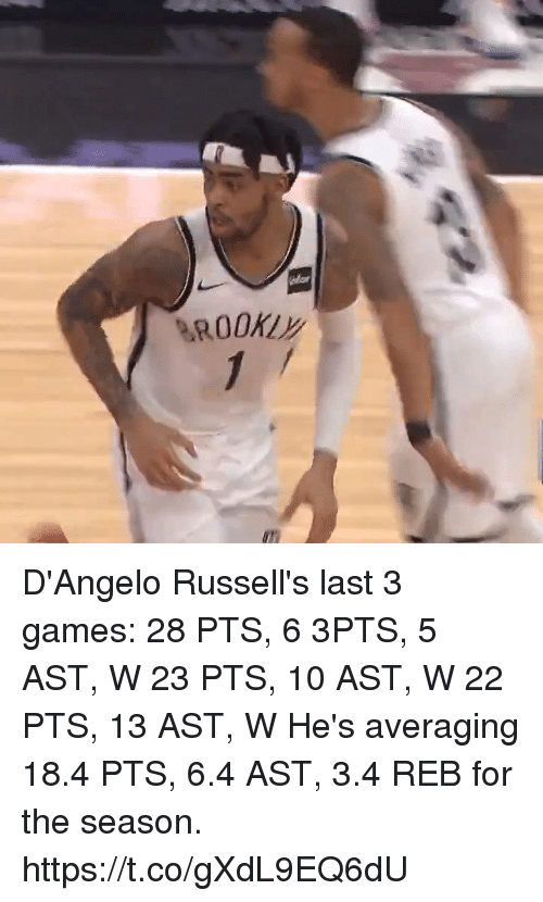 Memes, Games, and 🤖: D'Angelo Russell's last 3 games:  28 PTS, 6 3PTS, 5 AST, W 23 PTS, 10 AST, W 22 PTS, 13 AST, W  He's averaging 18.4 PTS, 6.4 AST, 3.4 REB for the season.   https://t.co/gXdL9EQ6dU
