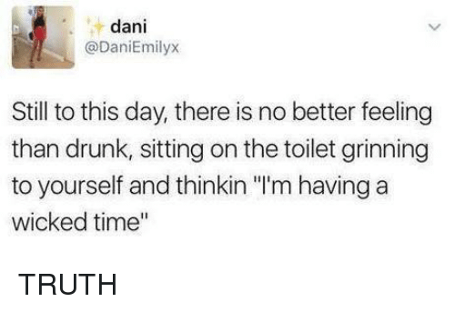 "Grinning: dani  @DaniEmilyx  Still to this day, there is no better feeling  than drunk, sitting on the toilet grinning  to yourself and thinkin ""'m having a  wicked time"" TRUTH"