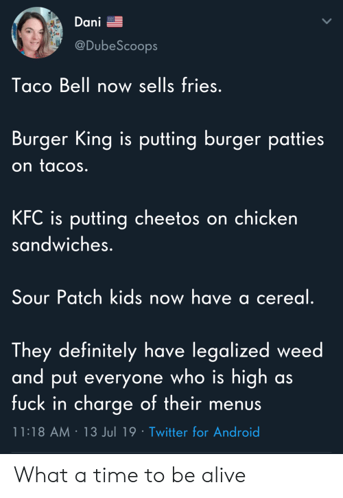Alive, Android, and Burger King: Dani  @DubeScoops  Taco Bell now sells fries.  Burger King is putting burger patties  on tacos.  KFC is putting cheetos on chicken  sandwiches.  Sour Patch kids now have a cereal.  They definitely have legalized weed  and put everyone who is high  fuck in charge of their menus  as  11:18 AM 13 Jul 19 Twitter for Android What a time to be alive
