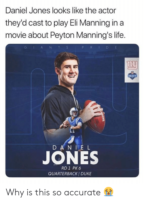 Peyton: Daniel Jones looks like the actor  they'd cast to play Eli Manning in a  movie about Peyton Manning's life.  P R D E  GlA NT S  ny  DRAFT  D AN IE L  JONES  RD1 PK 6  QUARTERBACK I DUKE Why is this so accurate 😭