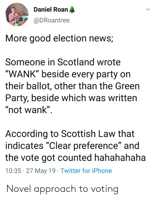 "Iphone, News, and Party: Daniel Roan  @DRoantree  More good election news;  Someone in Scotland wrote  WANK"" beside every party on  their ballot, other than the Green  Party, beside which was written  ""not wank""  According to Scottish Law that  indicates ""Clear preference"" and  the vote got counted hahahahaha  10:35 27 May 19 Twitter for iPhone Novel approach to voting"