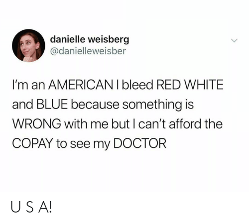 Doctor, American, and Blue: danielle weisberg  @danielleweisber  I'm an AMERICAN I bleed RED WHITE  and BLUE because something is  WRONG with me but I can't afford the  COPAY to see my DOCTOR U S A!