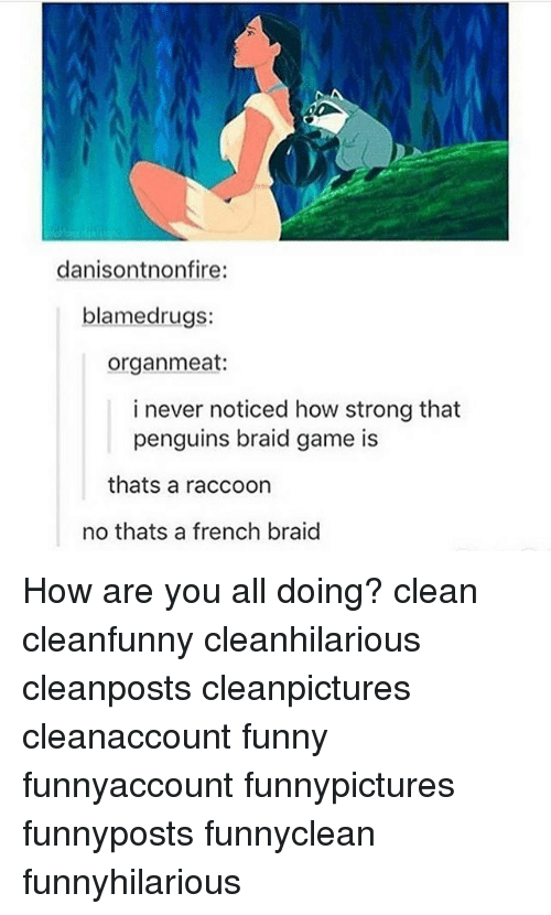 Rugs: danisontnonfire:  blamed rugs:  organ meat:  i never noticed how strong that  penguins braid game is  thats a raccoon  no thats a french braid How are you all doing? clean cleanfunny cleanhilarious cleanposts cleanpictures cleanaccount funny funnyaccount funnypictures funnyposts funnyclean funnyhilarious