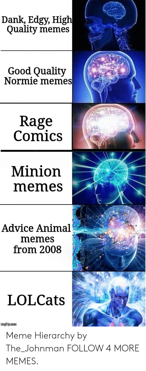 Rage Comics: Dank, Edgy, High  Quality memes  Good Quality  Normie memes  Rage  Comics  Minion  memes  Advice Animal  memes  from 2008  LOLCats  imgfip com Meme Hierarchy by The_Johnman FOLLOW 4 MORE MEMES.