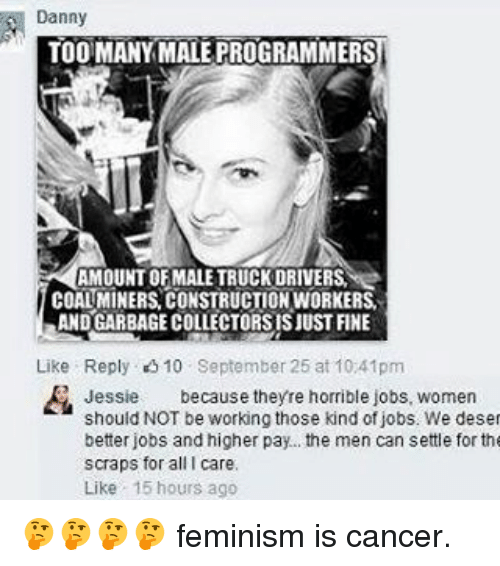 Feminization: Danny  TOO MANY MALE PROGRAMMERS  AMOUNT OF MALE TRUCKDRIVERSI  COALMINERS CONSTRUCTIONWORKERS.  ANDGARBAGECOLLECTORSISJUST FINE  Like Reply 10 September 25 at 10 41pm  Jessie  because theyre horrible jobs, women  should NOT be working those kind of jobs. We deset  better jobs and higher pay... the men can settle for the  scraps for all I care.  Like 15 hours ago 🤔🤔🤔🤔 feminism is cancer.