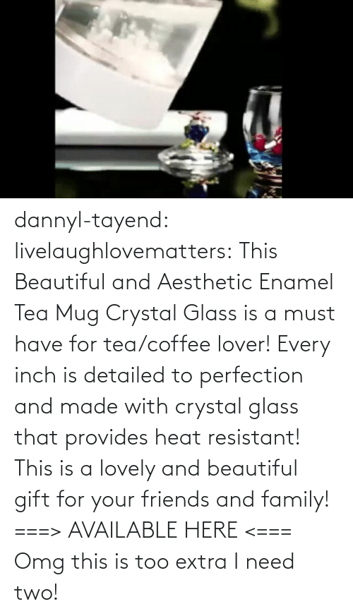 extra: dannyl-tayend:  livelaughlovematters:   This Beautiful and Aesthetic Enamel Tea Mug Crystal Glass is a must have for tea/coffee lover! Every inch is detailed to perfection and made with crystal glass that provides heat resistant! This is a lovely and beautiful gift for your friends and family! ===> AVAILABLE HERE <===    Omg this is too extra I need two!