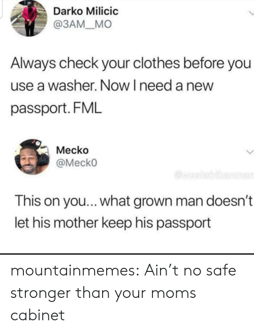 Clothes, Fml, and Moms: Darko Milicic  @ЗАМ_МО  Always check your clothes before you  use a washer. Now I need a new  passport. FML  Mecko  @MeckO  @westafrikanman  This on you... what grown man doesn't  let his mother keep his passport mountainmemes:  Ain't no safe stronger than your moms cabinet
