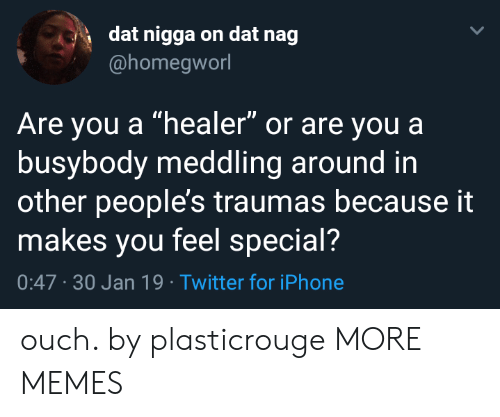 "30 Jan: dat nigga on dat nag  @homegworl  Are you a ""healer"" or are youa  busybody meddling around in  other people's traumas because it  makes you feel special?  0:47 -30 Jan 19 Twitter for iPhone ouch. by plasticrouge MORE MEMES"