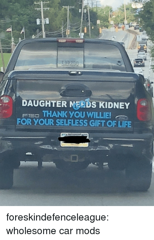 Life, Target, and Tumblr: DAUGHTER MEEDS KIDNEY  FI5O THANK YOU WILLIE  FOR YOUR SELFLESS GIFT OF LIFE foreskindefenceleague: wholesome car mods