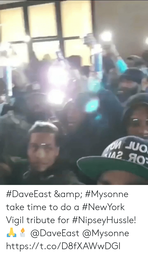 Time, Mysonne, and Amp: #DaveEast & #Mysonne take time to do a #NewYork Vigil tribute for #NipseyHussle! 🙏🕯 @DaveEast @Mysonne https://t.co/D8fXAWwDGI