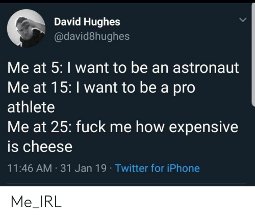 Me How: David Hughes  @david8hughes  Me at 5: I want to be an astronaut  Me at 15: I want to be a pro  athlete  Me at 25: fuck me how expensive  is cheese  11:46 AM 31 Jan 19 Twitter for iPhone Me_IRL