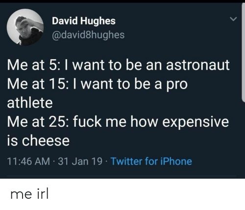 Me How: David Hughes  @david8hughes  Me at 5: I want to be an astronaut  Me at 15: I want to be a pro  athlete  Me at 25: fuck me how expensive  is cheese  11:46 AM 31 Jan 19 Twitter for iPhone me irl