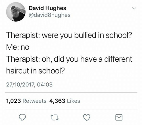 Haircut, School, and Humans of Tumblr: David Hughes  @david8hughes  Therapist: were you bullied in school?  Me: no  Therapist: oh, did you have a different  haircut in school?  27/10/2017, 04:03  1,023 Retweets 4,363 Likes