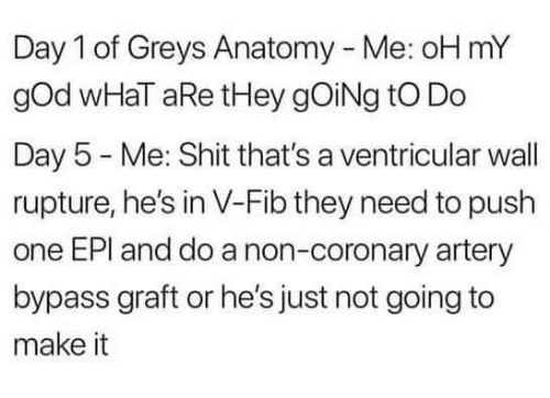 Day 5: Day 1 of Greys Anatomy - Me: oH mY  gOd wHaT aRe tHey gOiNg tO Do  Day 5 Me: Shit that's a ventricular wall  rupture, he's in V-Fib they need to push  one EPI and do a non-coronary artery  bypass graft or he's just not going to  make it