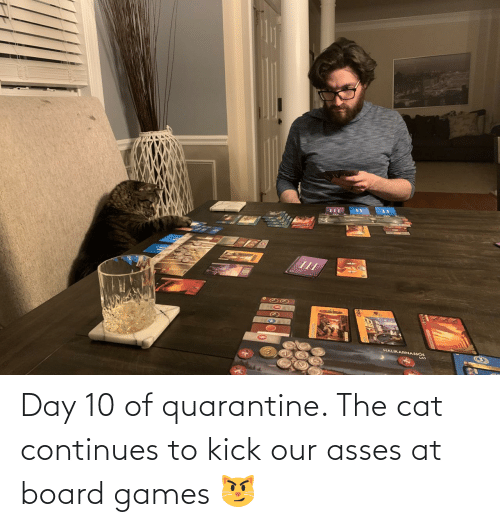 Board: Day 10 of quarantine. The cat continues to kick our asses at board games 😼