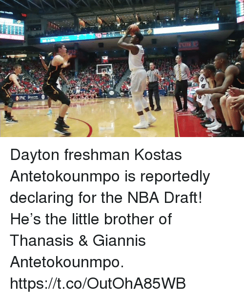 antetokounmpo: Dayton freshman Kostas Antetokounmpo is reportedly declaring for the NBA Draft!   He's the little brother of Thanasis & Giannis Antetokounmpo. https://t.co/OutOhA85WB