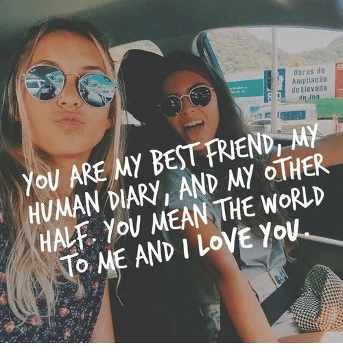 You Are My Best Friend: Dbras de  Ampliaca0  do Elevado  You ARE MY BEST FRIEND, MY  HUMAN DIARY, AND MY OTHER  HALF. YoU MEAN THE WORLD  To ME AND I LoVE You