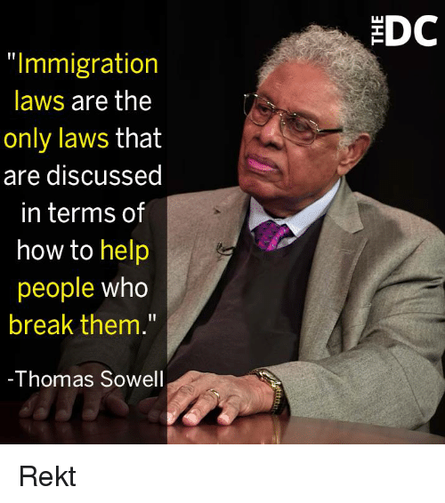 """Memes, Break, and Help: DC  """"Immigration  laws are the  only laws that  are discussed  in terms of  how to help  people who  break them.""""  -Thomas Sowel Rekt"""