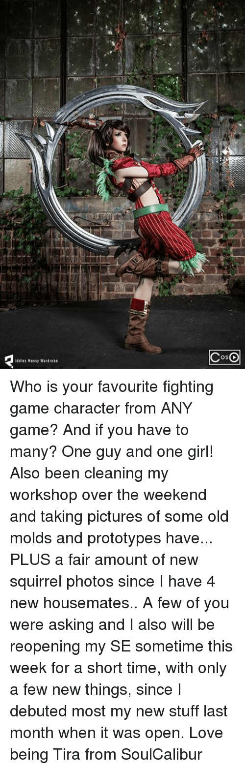 any games: ddles Messy Wardrobe  COSO Who is your favourite fighting game character from ANY game? And if you have to many? One guy and one girl!   Also been cleaning my workshop over the weekend and taking pictures of some old molds and prototypes  have... PLUS a fair amount of new squirrel photos since I have 4 new housemates..   A few of you were asking and I also will be reopening my SE sometime this week for a short time, with only a few new things, since I debuted most my new stuff last month when it was open.  Love being Tira from SoulCalibur