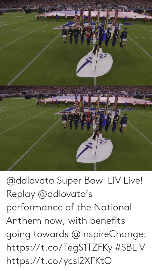 Performance: @ddlovato Super Bowl LIV Live! Replay @ddlovato's performance of the National Anthem now, with benefits going towards @InspireChange: https://t.co/TegS1TZFKy #SBLIV https://t.co/ycsl2XFKtO