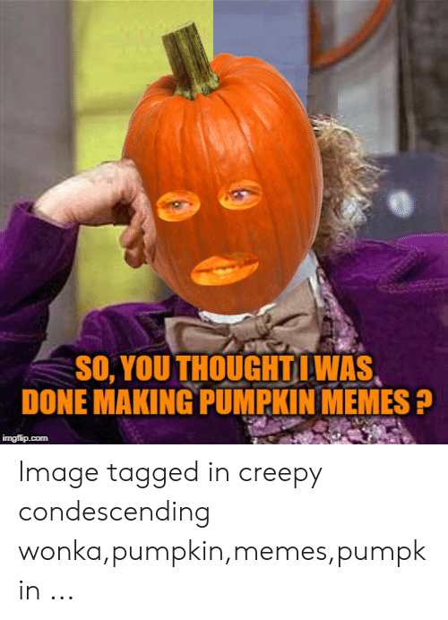 Pumpkin Meme: de  SO, YOU THOUGHTLWAS  DONE MAKING PUMPKIN MEMES P Image tagged in creepy condescending wonka,pumpkin,memes,pumpkin ...