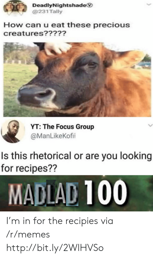 Memes, Precious, and Focus: DeadlyNightshade  @231 Tally  How can u eat these precious  creatures?????  YT: The Focus Group  @ManLikeKofi  Is this rhetorical or are you looking  for recipes??  MADLAD 100 I'm in for the recipies via /r/memes http://bit.ly/2WlHVSo