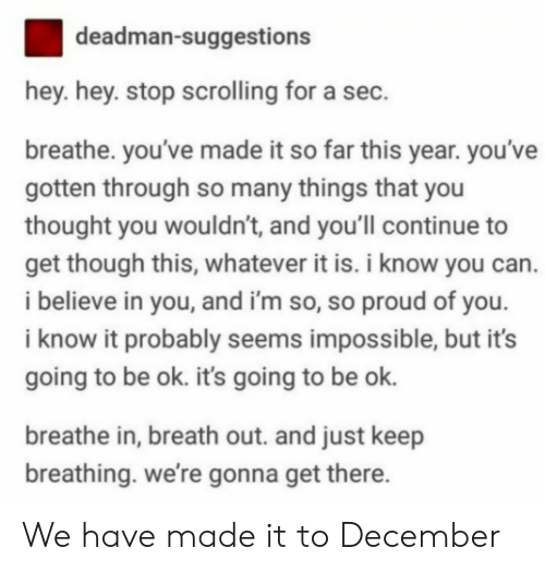 Proud, Thought, and Sec: deadman-suggestions  hey. hey. stop scrolling for a sec.  breathe. you've made it so far this year. you've  gotten through so many things that you  thought you wouldn't, and you'll continue to  get though this, whatever it is. i know you can.  i believe in you, and i'm so, so proud of you  i know it probably seems impossible, but it's  going to be ok. its going to be ok.  breathe in, breath out. and just keep  breathing. we're gonna get there We have made it to December