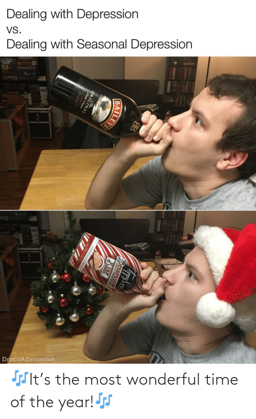 cream: Dealing with Depression  VS.  Dealing with Seasonal Depression  WER  DracoAdamantus  PEPPERMINT  BARX  ILEYS  ORIGINAL  Frish Cream 🎶It's the most wonderful time of the year!🎶