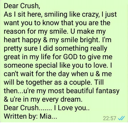 Dear Crush As I Sit Here Smiling Like Crazy I Just Want You To Know