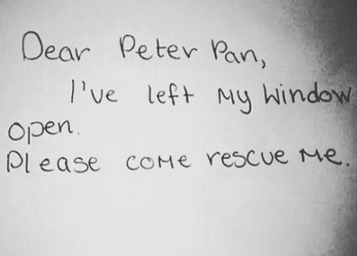 pan: Dear  Peter Pan,  Ive left My hindow  Open  lease COME rescue Me.