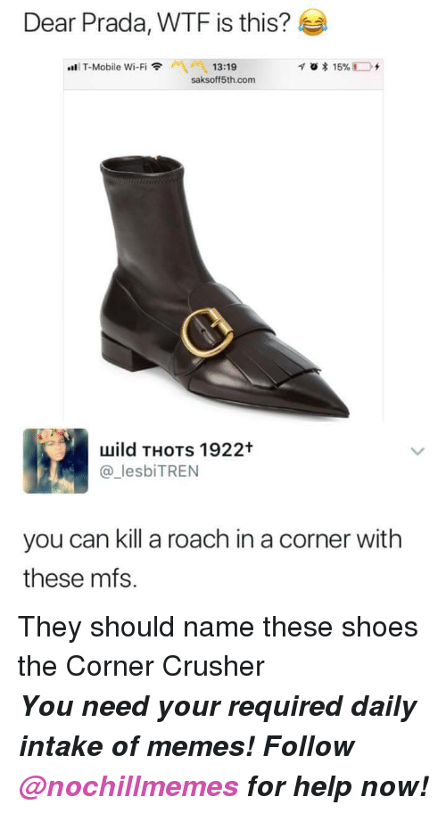 Memes, Shoes, and T-Mobile: Dear Prada, WTF is this?  Aİ 13:19  saksoff5th.com  ..li T-Mobile Wi-Fi令  uuild THOTs 1922t  lesbiTREN  you can kill a roach in a corner with  these mfs. <p>They should name these shoes the Corner Crusher</p><p><b><i>You need your required daily intake of memes! Follow <a>@nochillmemes</a>​ for help now!</i></b><br/></p>