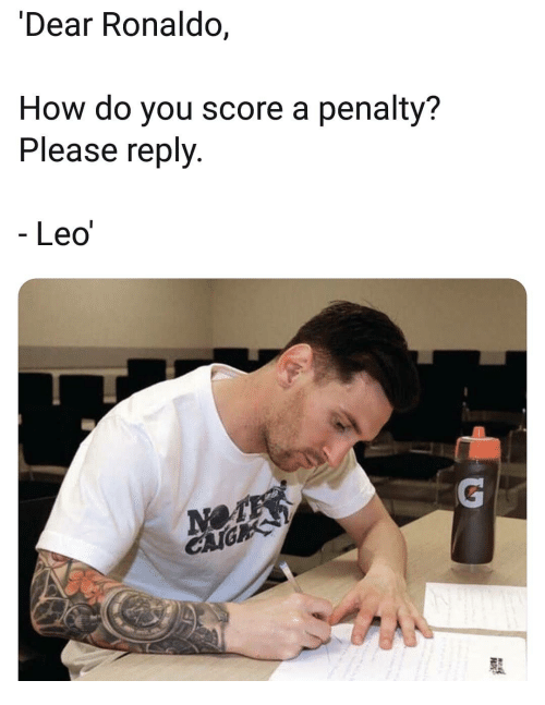 Memes, Ronaldo, and 🤖: Dear Ronaldo,  How do you score a penalty?  Please reply.  Leo