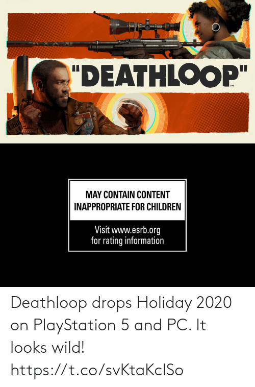 Drops: Deathloop drops Holiday 2020 on PlayStation 5 and PC. It looks wild!  https://t.co/svKtaKclSo
