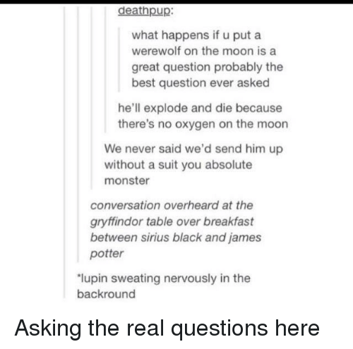 Gryffindor: deathpup:  what happens if u put a  werewolf on the moon is a  great question probably the  best question ever asked  he'll explode and die because  there's no oxygen on the moon  We never said we'd send him up  without a suit you absolute  monster  conversation overheard at the  gryffindor table over breakfast  between sirius black and james  potter  lupin sweating nervously in the  backround Asking the real questions here