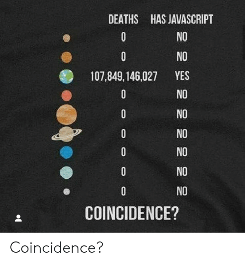No Yes: DEATHS HAS JAVASCRIPT  NO  0  0  NO  YES  107,849,146,027  NO  0  NO  0  NO  0  NO  0  NO  NO  COINCIDENCE? Coincidence?
