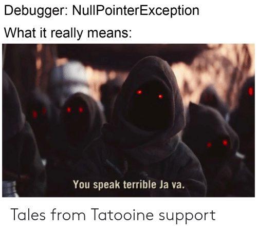 Tales, Means, and Speak: Debugger: NullPointerException  What it really means:  You speak terrible Ja va. Tales from Tatooine support
