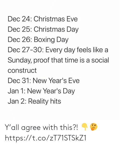 proof: Dec 24: Christmas Eve  Dec 25: Christmas Day  Dec 26: Boxing Day  Dec 27-30: Every day feels like a  Sunday, proof that time is a social  construct  Dec 31: New Year's Eve  Jan 1: New Year's Day  Jan 2: Reality hits Y'all agree with this?! 👇🤔 https://t.co/zT71STSkZ1