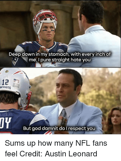 nfl fans: Deep down in my stomach, with every inch of  me, I pure straight hate you  12  ATRIOTS  But god damnit do I respect you Sums up how many NFL fans feel Credit: Austin Leonard