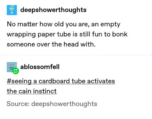 Head, Tube, and Old: deepshowerthoughts  No matter how old you are, an empty  wrapping paper tube is still fun to bonk  someone over the head with  ablossomfell  eve  bi  #seeing a cardboard tube activates  the cain instinct  Source: deepshowerthoughts
