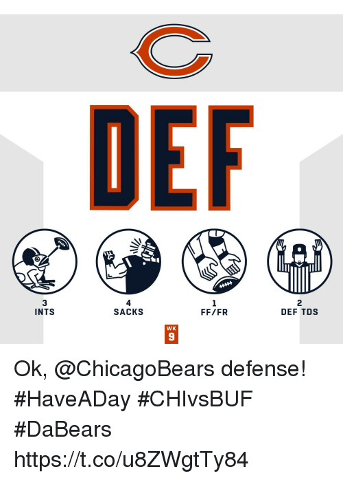 Memes, 🤖, and Tds: DEF  3  INTS  4  SACKS  1  FF/FR  2  DEF TDS  WK  9 Ok, @ChicagoBears defense! #HaveADay #CHIvsBUF  #DaBears https://t.co/u8ZWgtTy84