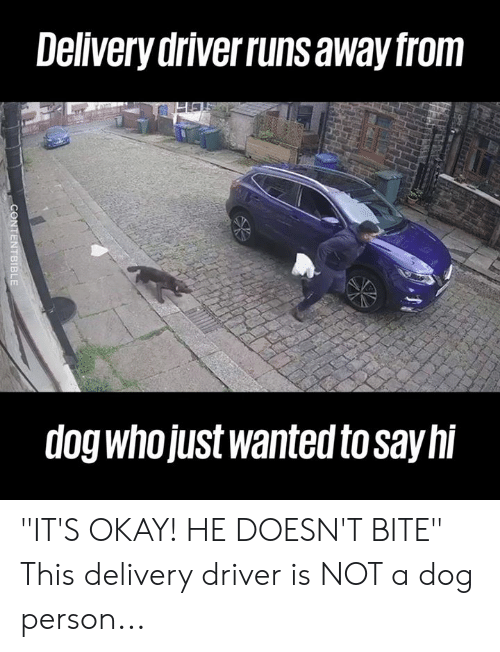 """Dank, Okay, and 🤖: Delivery driverruns away from  dog whojUst wanted to sayhi """"IT'S OKAY! HE DOESN'T BITE""""  This delivery driver is NOT a dog person..."""