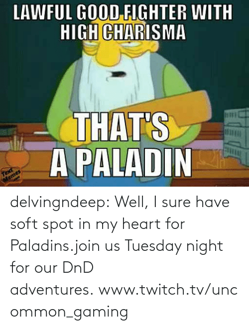 night: delvingndeep:  Well, I sure have soft spot in my heart for Paladins.join us Tuesday night for our DnD adventures.www.twitch.tv/uncommon_gaming