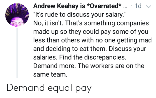 Pay: Demand equal pay