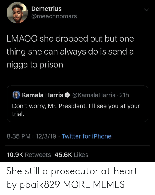One Thing: Demetrius  @meechnomars  LMAOO she dropped out but one  thing she can always do is send a  nigga to prison  Kamala Harris O @KamalaHarris · 21h  Don't worry, Mr. President. I'll see you at your  trial.  8:35 PM · 12/3/19 · Twitter for iPhone  10.9K Retweets 45.6K Likes She still a prosecutor at heart by pbaik829 MORE MEMES