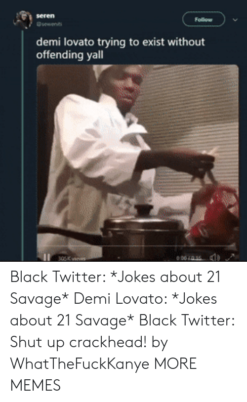 demi: demi lovato trying to exist without  offending yall  001415 Black Twitter: *Jokes about 21 Savage* Demi Lovato: *Jokes about 21 Savage* Black Twitter: Shut up crackhead! by WhatTheFuckKanye MORE MEMES