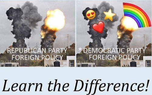 Party, Democratic Party, and Republican Party: DEMOCRATIC PARTY  FOREIGN POLICY  REPUBLICAN PARTY  FOREIGN POLICY  Learn the Difference!