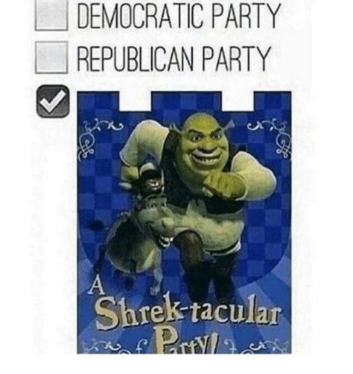 Republican Party: DEMOCRATIC PARTY  REPUBLICAN PARTY  Shrek raculan