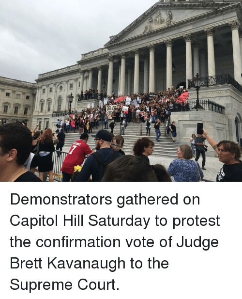 Memes, Protest, and Supreme: Demonstrators gathered on Capitol Hill Saturday to protest the confirmation vote of Judge Brett Kavanaugh to the Supreme Court.